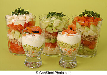 appetizer, verrine - appetizers, verrines of salmon