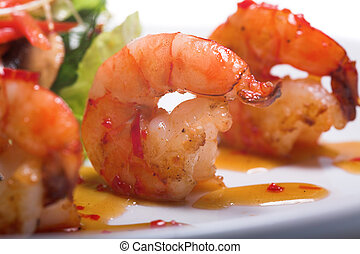 appetizer with shrimps isolated on the white