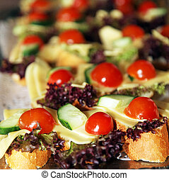 Appetizers at a catering function