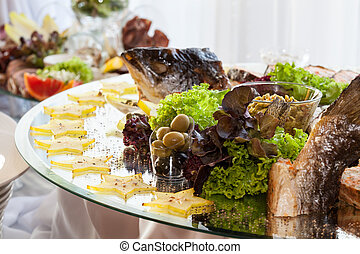Appetizers on banquet table