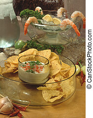 Appetizers - Plates of appetizers shrimp and chips