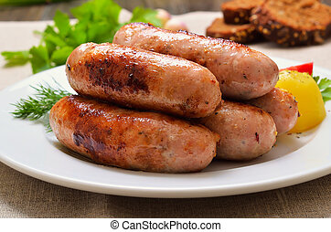 Appetizing barbecue sausages