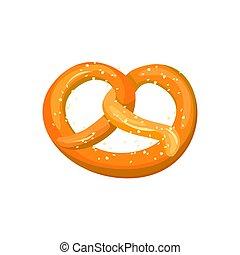 Appetizing Bavarian pretzel icon. vector illustration isolated on a white background