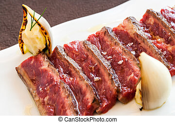 Appetizing beef fillet mignon. - Close up of tender grilled...