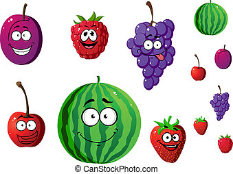 Appetizing berries and fruits set