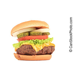Appetizing cheeseburger.