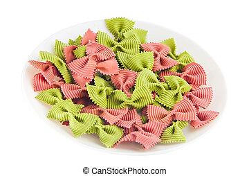 appetizing colored farfalle pasta