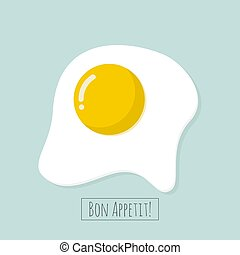 Appetizing cooked fried egg. - Appetizing cooked fried egg...