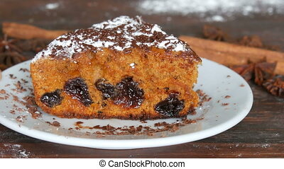 Appetizing delicious home-made freshly baked piece of cherry...