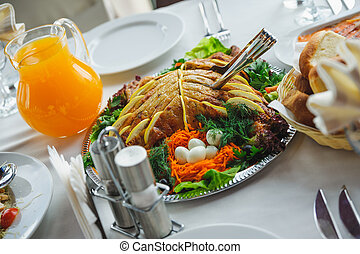 appetizing dish on a plate. restaurant food and drink