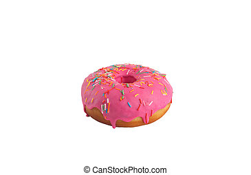 Appetizing donut in a pink glaze with multi-colored sprinkle on a white background. Isolated.