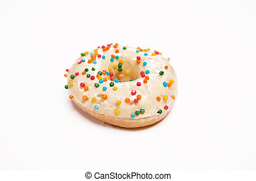Appetizing donut with sprinkles isolated on white background.