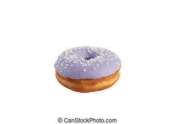 Appetizing donut with taste of wild berries on a white background. Isolated.