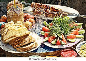 Appetizing Easter picnic.