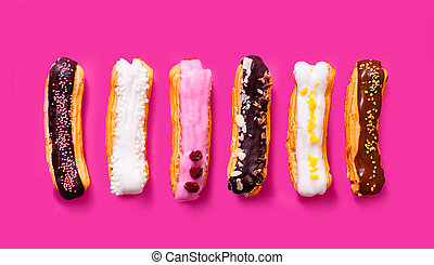 Appetizing eclairs with different fillings and design