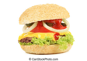 Appetizing fast food hamburger.