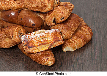 Appetizing French croissants on a table