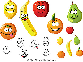 Lemon, apple, orange, banana, pear and peach fruits in cartoon style