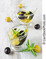 appetizing olive oil with olives