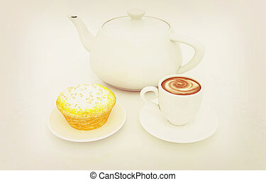 Appetizing pie and cup of coffee. 3D illustration. Vintage style.