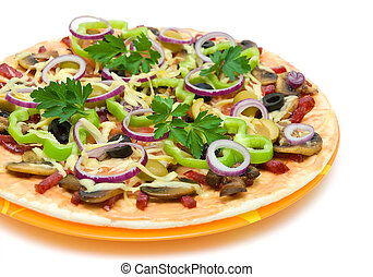 Appetizing pizza closeup on a white background - Appetizing...