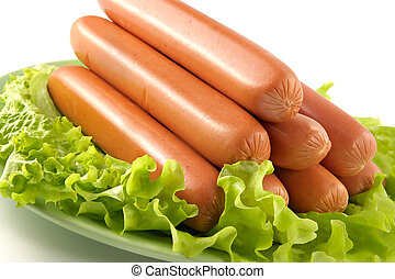 Appetizing pork sausages seasoned by green salad-product for preparation of hot dogs