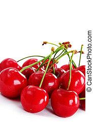 appetizing red fresh ripe cherries on white background