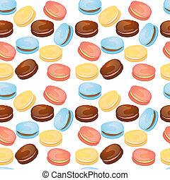 Appetizing seamless pattern with macaroons on a white background
