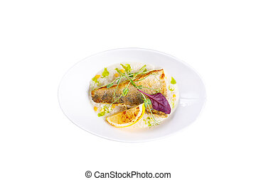 Appetizing second course of fish. Fried carp. on a white background.