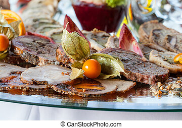 Closeup of an appetizing snacks on luxury table