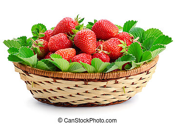 strawberries in a wicker basket isolated on white background.