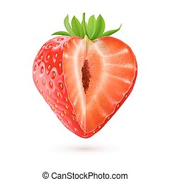Appetizing cut strawberry isolated on white background