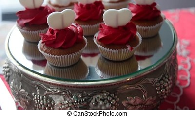 Appetizing, sweet, delicious cakes.