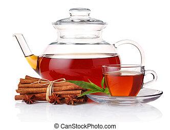 appiccicare, foglie, cannella, tazza tè, verde, teiera