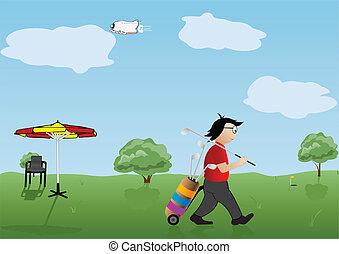 appiccicare, illustrazione, giocatore, vettore, golf