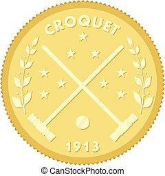 appiccicare, oro, immagine, illustrazione, vettore, medaglione, croquet, ball., colorato