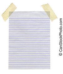 appiccicato, isolato, fondo., carta, nastro, mascherare, bianco, foderare