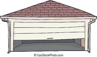 appiccicato, porta, isolato, garage