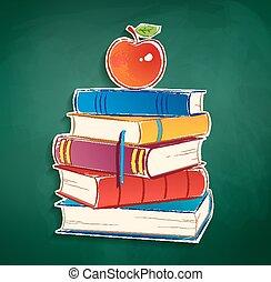 appl, sticker, boekjes , stapel