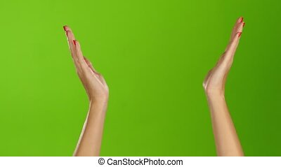Applauded and clap two female hands on green screen...