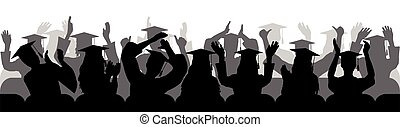 Applauding graduates sitting in chair, silhouettes. Vector illustration.