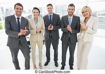 applaudir, équipe, mains, business, ensemble