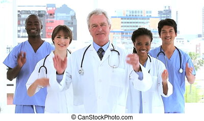 applaudir, équipe, mains, leur, monde médical