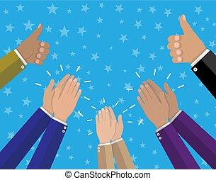 applaudir, applaudir, haut, pouces, mains humaines, prise
