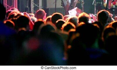 applaudir, concert, lot, gens