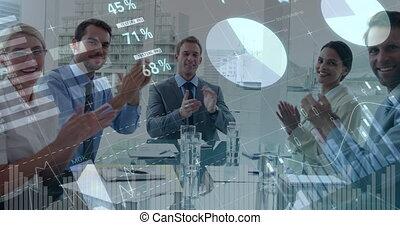 applaudir, gens, 4k, bureau, business
