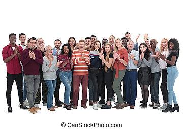 applaudir, gens, grand, groupe multi-ethnique