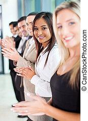 applaudir, groupe, equipe affaires