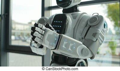 applaudir, intérieur, satisfait, robot