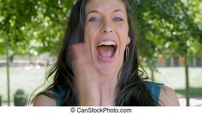 applaudir, réussi, métier, puits, applaudir, belle femme, ...